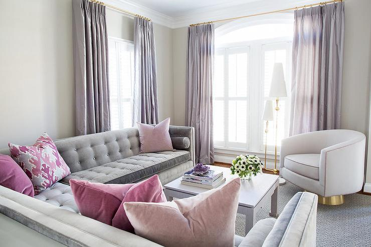 Gray and Pink Living Room with Purple Curtains - Contemporary