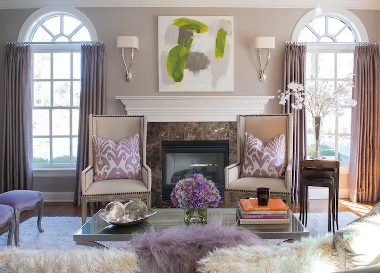 Purple Curtains - Contemporary - living room - Susan Glick Interiors