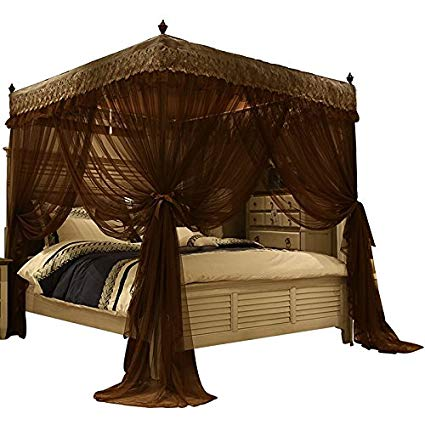 Amazon.com: Nattey Luxury 4 Post Bed Curtain Canopy Mosquito Netting