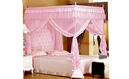 Amazon.com: Pink Princess 4 Corners Post Bed Curtain Canopy Mosquito