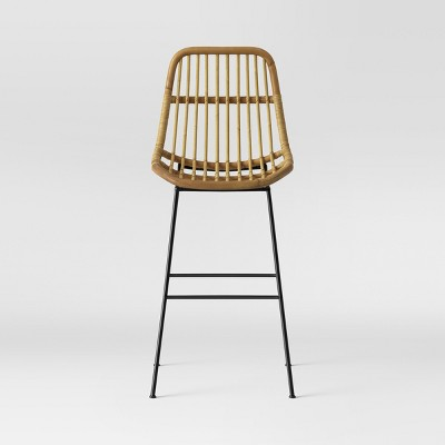 Linnet Rattan With Metal Legs Barstool - Light Brown - Opalhouse