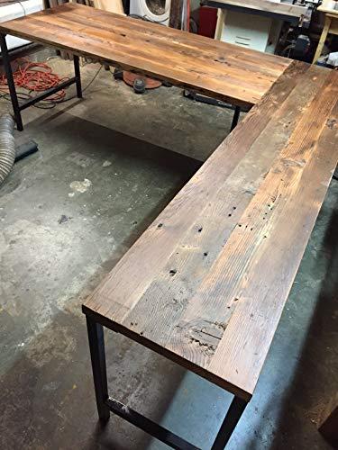 Amazon.com: L Shaped Desk Reclaimed Wood with Metal Base: Handmade