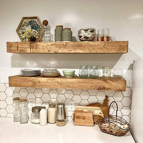 Amazon.com: Wood Floating Shelves 10-inches Deep | Rustic Shelf