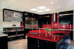 Red & Black Kitchen. WOW