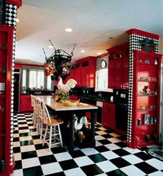 The Nest - Home Decorating Ideas, Recipes. Red And White KitchenBlack