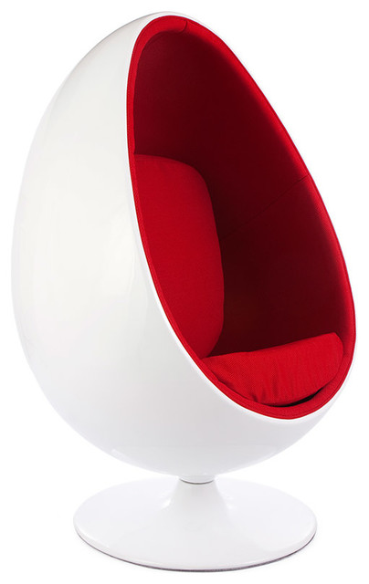 Retro White Shell Egg Pod Chair - Midcentury - Armchairs And Accent