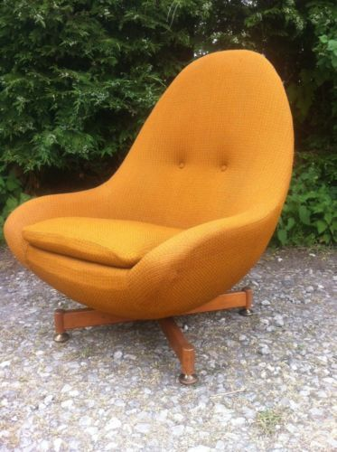 Vintage Retro Greaves And Thomas Egg Chair Spinning Rotating Chair