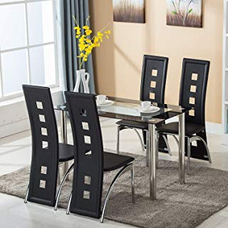 Amazon.com: Glass Dining Table & Chair Sets