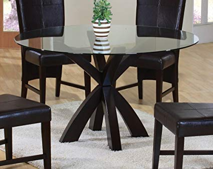Amazon.com - Dining Table with Round Glass Top in Rich Cappuccino