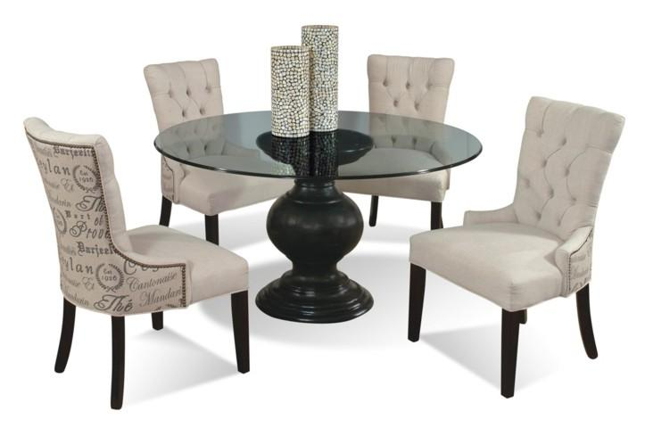 5-Piece Contemporary Round Glass Table and Upholstered Chairs Set by