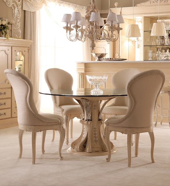 Opulent Italian Round Glass Dining Table Set Juliettes Interiors