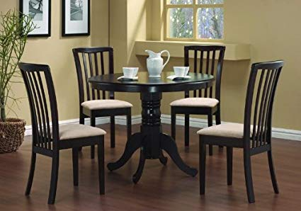 Amazon.com - 5 Pc Round Dining Table 4 Chairs Chair Set Cappuccino