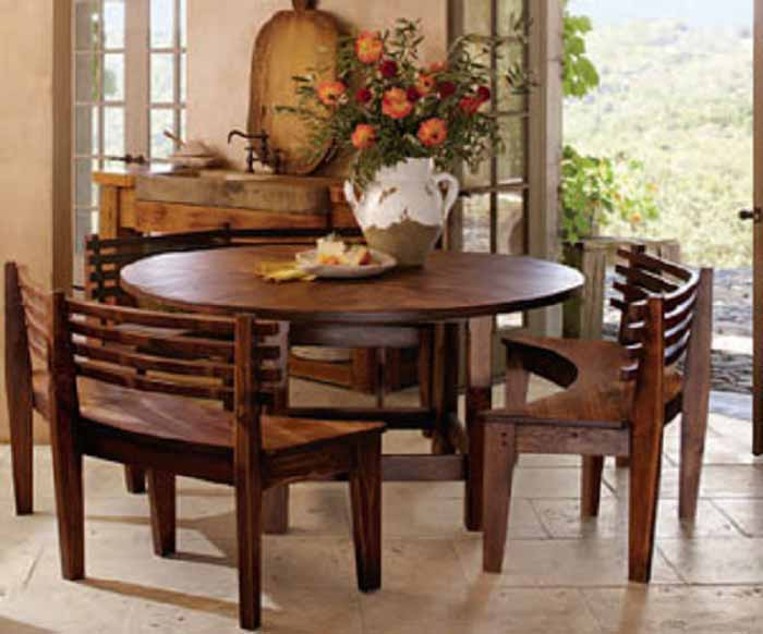 Round Wood Dining Room Table Sets 30244 - Salongallery Dining Room