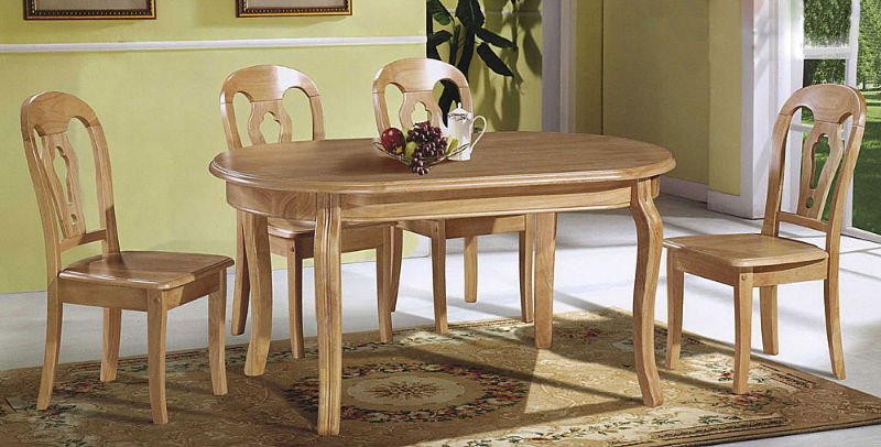 Gorgeous Wooden Dining Table Chairs Wood Set Oval In Design 9