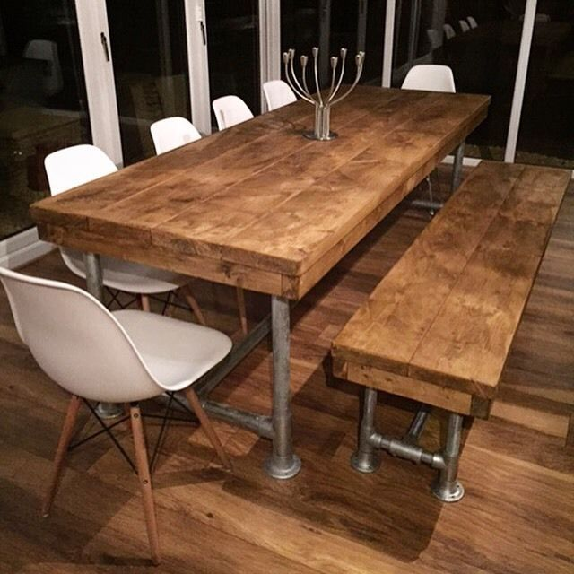Rustic Kitchen Table With Bench Or Chairs