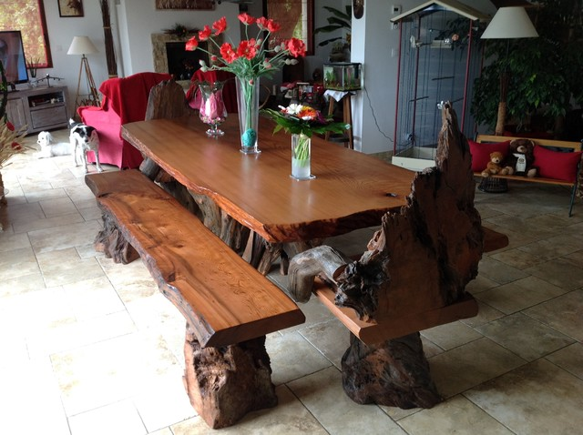 Rustic Live Edge Redwood Dining Table with Rustic Chairs and Benches rustic- dining-room