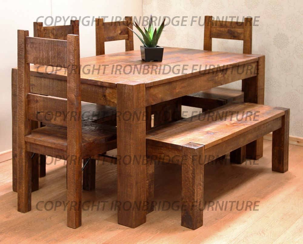rustic farmhouse dining table | RUSTIC FARM 150CM DINING TABLE, 4 CHAIRS &  125CM BENCH