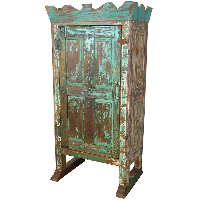 Crown Top Distressed Painted Wood Southwest Old Door Armoire