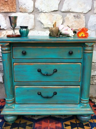 Comoda verde | painted furniture in 2019 | Mexican home decor
