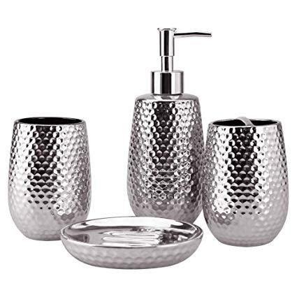 Amazon.com: 4-Piece Ceramic Bathroom Accessories Set, Moroccan