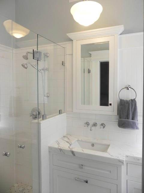 Very Small Master Bath - Conversion from 1/2 Bath - Traditional