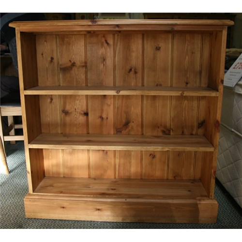Waxed Solid Pine Small Fixed Shelf Pine Bookcase | Kennedys