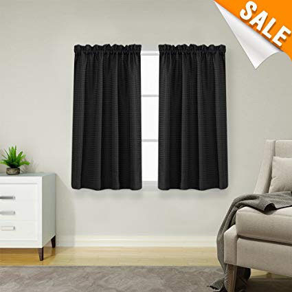 Amazon.com: Lazzzy Black Small Window Curtain Panels Waffle Weave