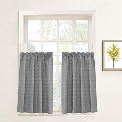 Amazon.com: Lazzzy Grey Tier Curtains for Kitchen 24