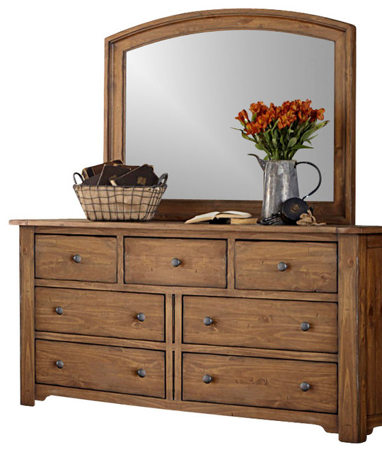 7-Drawer Dresser and Mirror Solid Wood Construction, Vintage Light