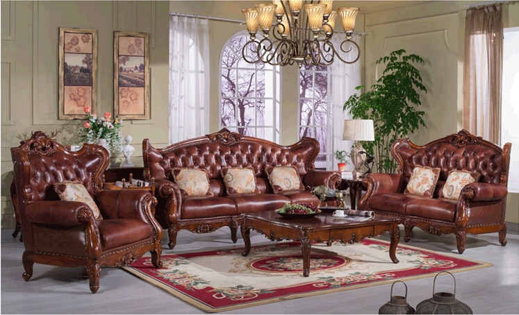 Solid wood furniture antique design sofa set S153-in Living Room