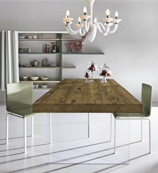 Unique Dining Table Mixing Glass and Solid Wood Furniture Design
