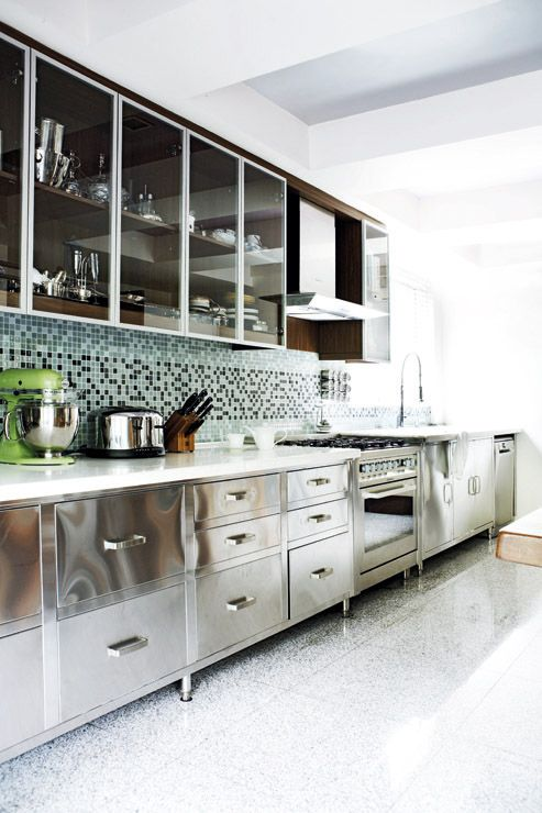 Stainless steel kitchen cabinet! Love this but i would change the