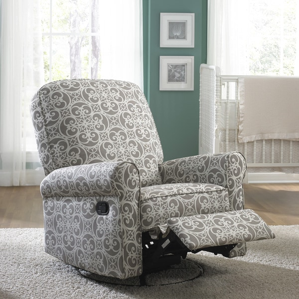 Shop Jackson Grey and Cream Fabric Nursery Swivel Glider Recliner