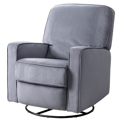 Bella Fabric Swivel Glider Recliner Chair - Gray - Abbyson Living