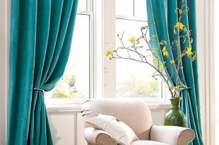 Turquoise window curtains in home decor | Living room redecorating