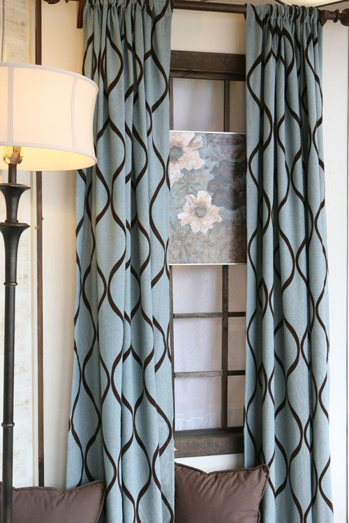 Curtain panels in turquoise and brown | CURTAIN PANELS TURQUOISE