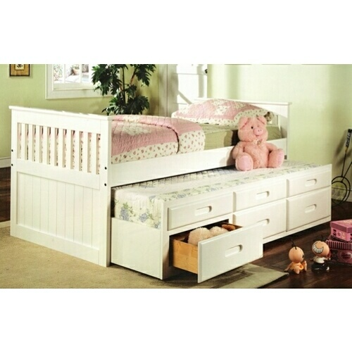 8420 Mission style white finish wood twin size storage trundle bed