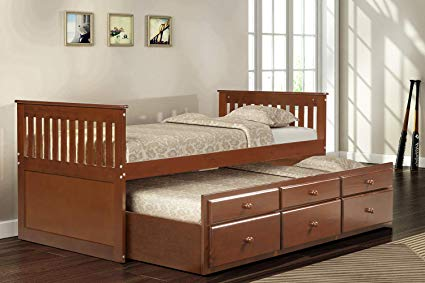 Amazon.com: LZ LEISURE ZONE Captain's Bed Twin Daybed with Trundle