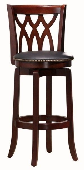 Traditional Wood Swivel Bar Stool w Curved Back, Upholstered Seat