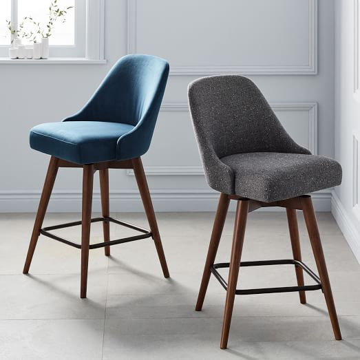 Mid-Century Upholstered Swivel Counter Stool | west elm