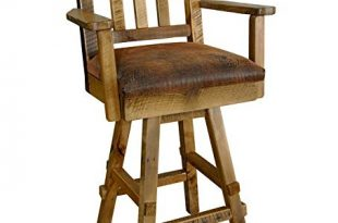 Amazon.com: Reclaimed Barn Wood Swivel Bar Stool with Back, Arms