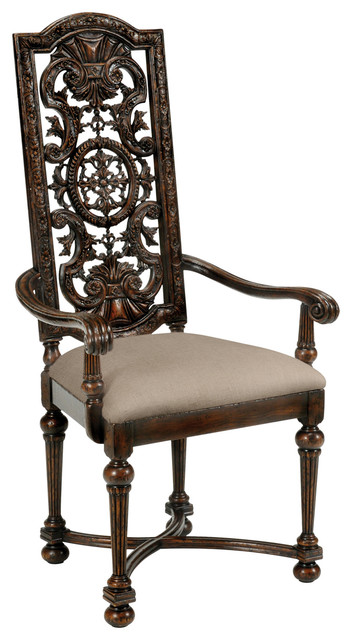 Jonathan Charles Jacobean Style Dark Oak Chair Pierced Back 493271