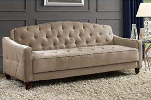 Amazon.com: Novogratz Vintage Tufted Sofa Sleeper II (Taupe Velour