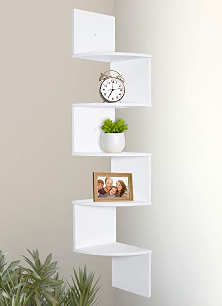 Amazon.com: Greenco 5 Tier Wall Mount Corner Shelves White Finish