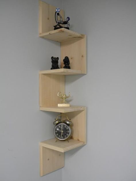 Wall mounted corner shelf Retro 4 tier zig by CustomWoodConcepts