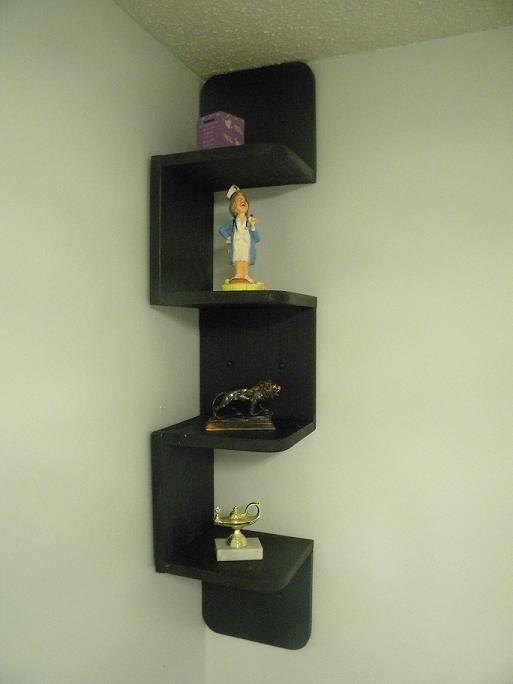 Wall mounted corner zig zag shelf Retro Black | Products | Wall