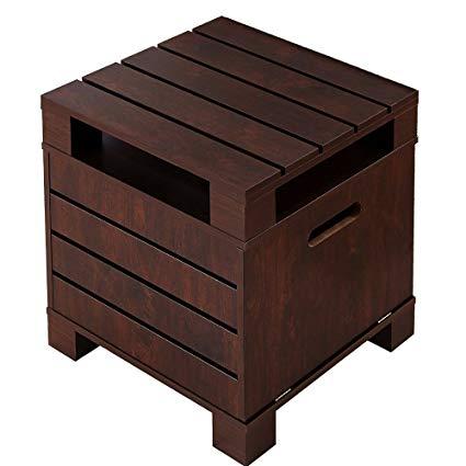Amazon.com: Crete Small Square Rustic Vintage Walnut Living Room End