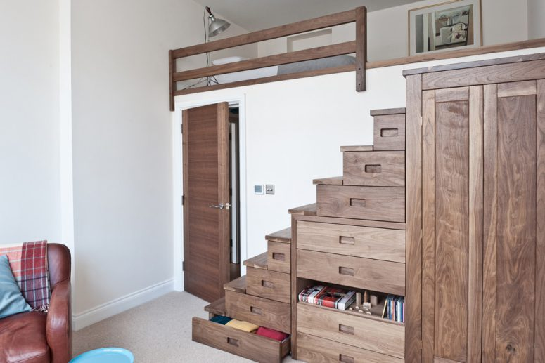 ingenious small bedroom design where under bed storage is take to another  level with drawer-