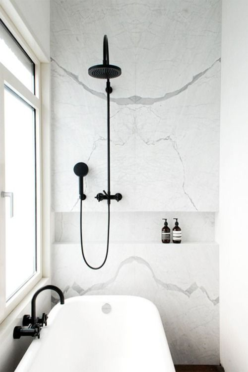 white marble and black fixtures | The Loo | Bathroom, Black white