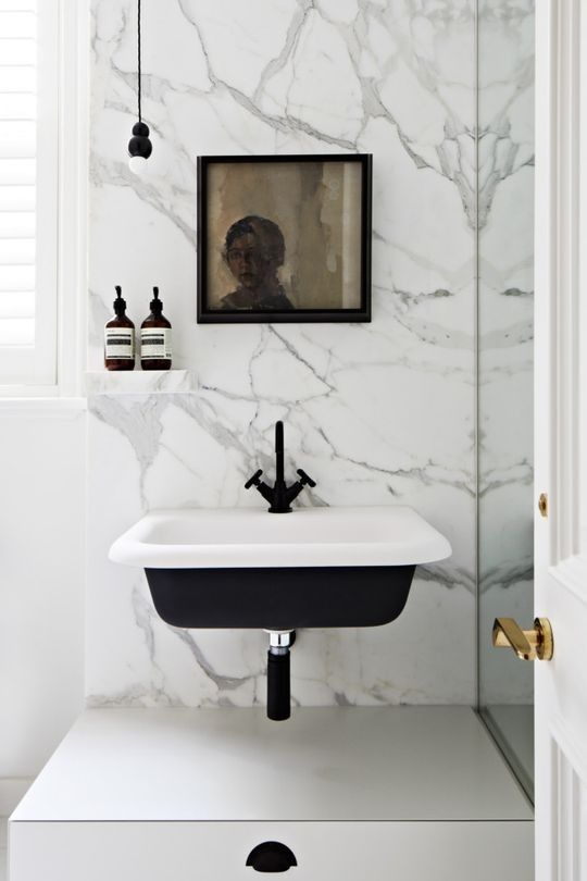 Toorak Residence by Hecker Guthrie | Bathrooms | Black sink, White